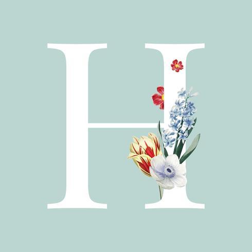 Estilo floral letra H tipografia