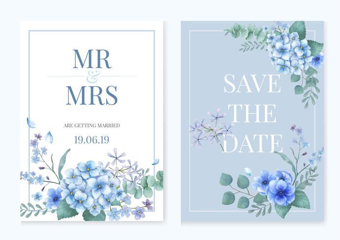 Blått tema hälsningskort med blommor