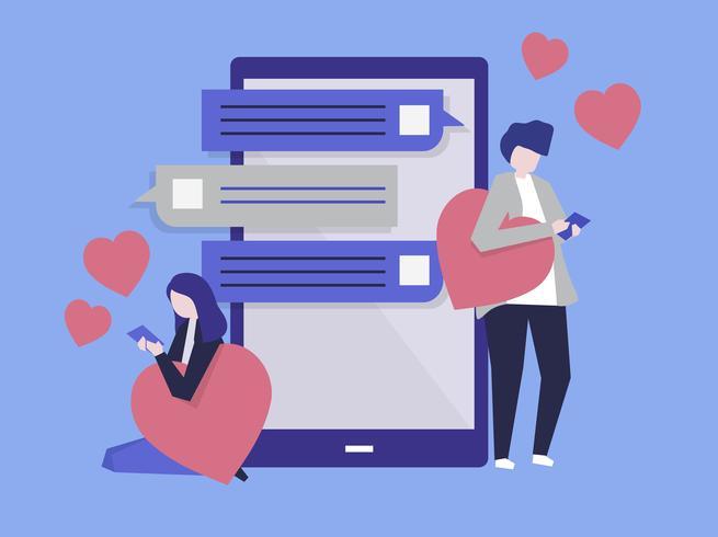 Caractères d'un couple en messagerie sur une illustration mobile