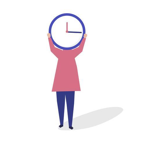 Carattere di una persona con un orologio come un'illustrazione di testa