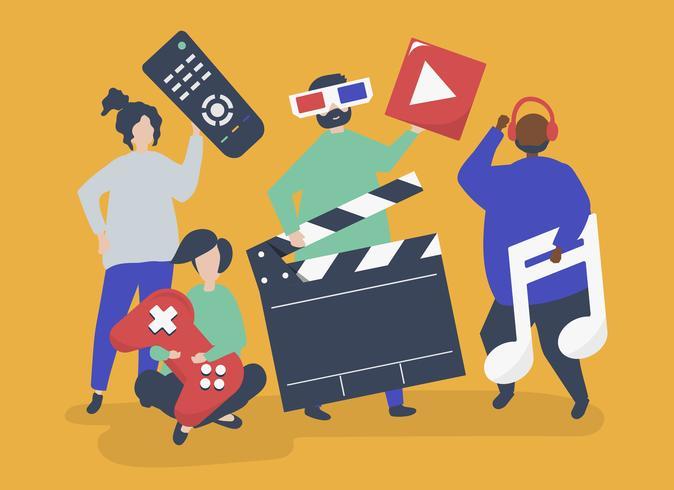 Personagens de pessoas segurando ilustração de ícones multimídia