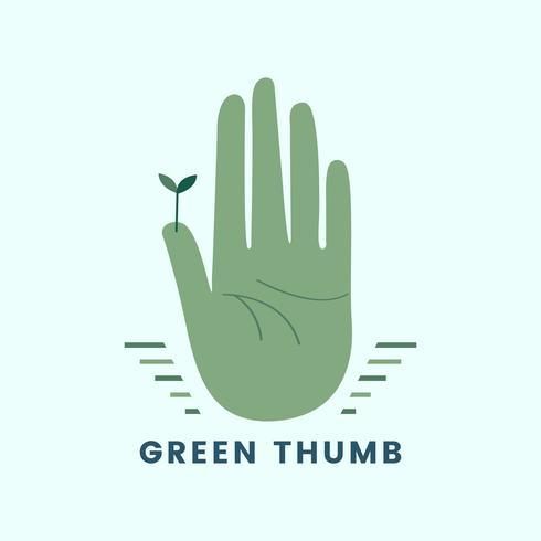 Groene duim organische tuinieren pictogram