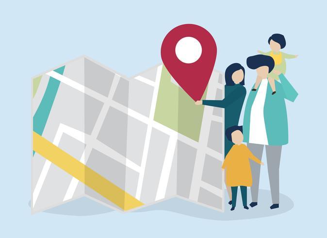Karakters van familie met een kaart en GPS-tellersillustratie