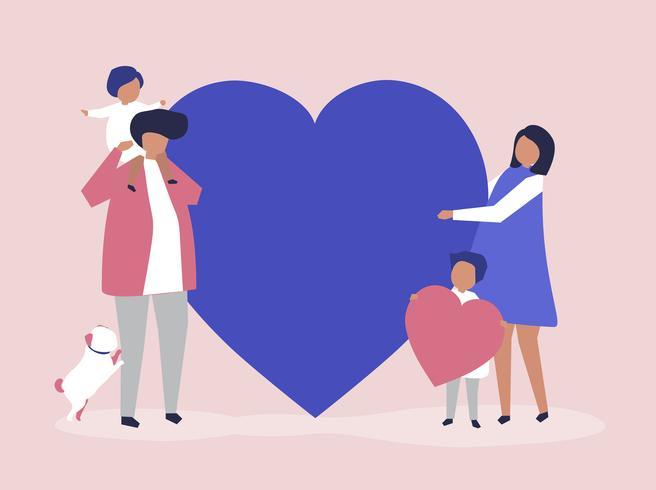 Charaktere einer Familie, die eine Herzformillustration hält