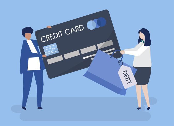 Caractères des gens et illustration de concept de dette de carte de crédit
