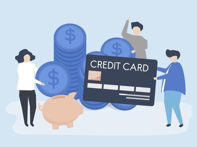 Caratteri dell'illustrazione di concetto di risparmio dei contanti e della gente