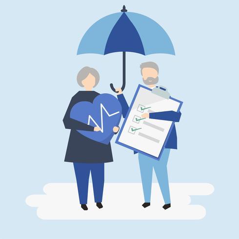 Caratteri di una coppia senior e di un'illustrazione dell'assicurazione malattia