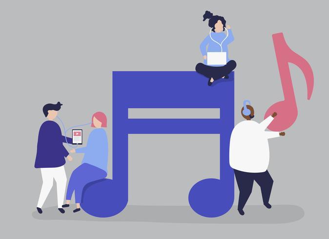 Personagens de pessoas ouvindo música ilustração