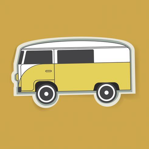Amarillo Van Car Vehicle Travel gráfico ilustración vectorial