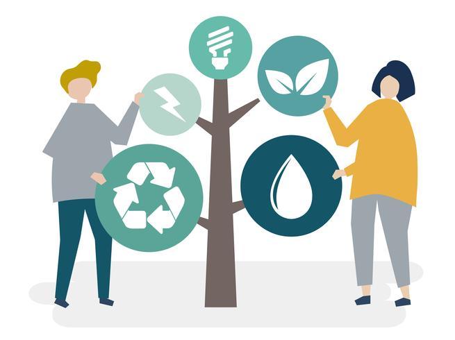 Charaktere von Leuten und von Baum der Umweltikonenillustration