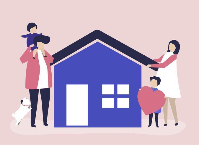 Caratteri di una famiglia amorevole e la loro illustrazione di casa