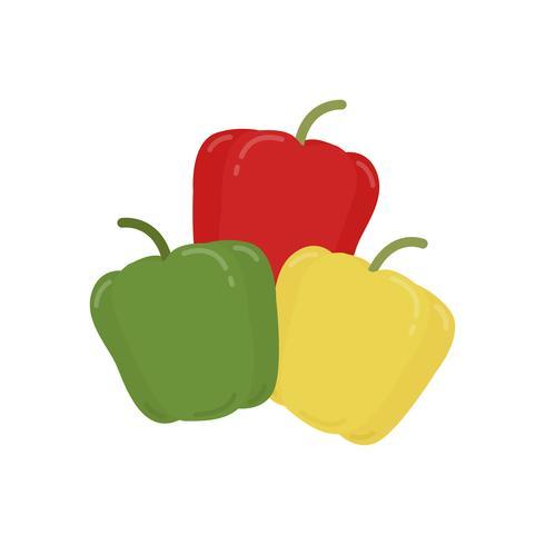 Ilustración gráfica de pimientos verdes y amarillos rojos