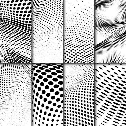Conjunto de vectores de fondo de semitono ondulado blanco y negro