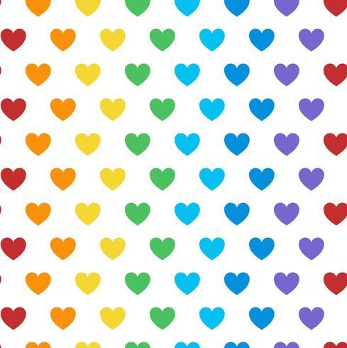 Vetor de padrão de coração colorido sem emenda