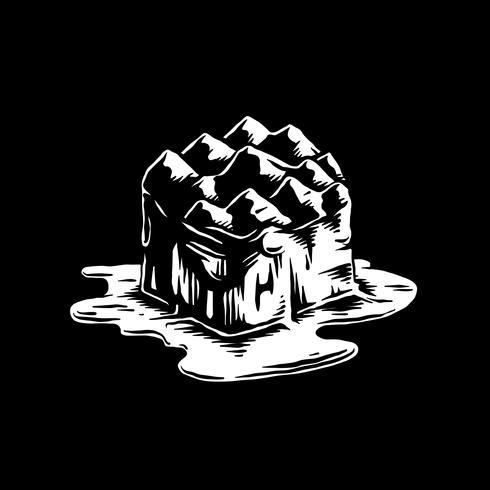 Fusión del iceberg de la ilustración del efecto del calentamiento global
