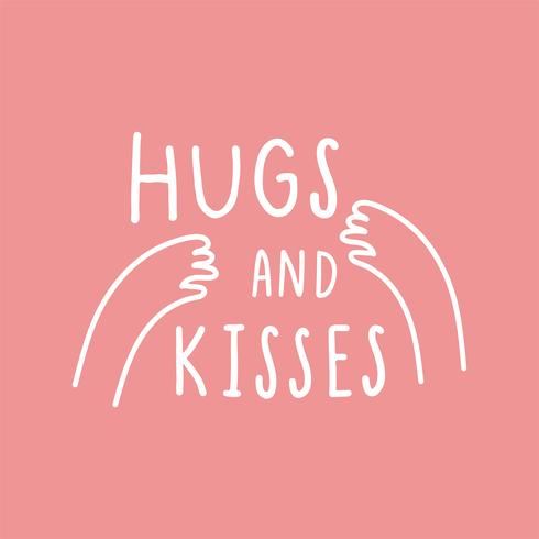 Hug and kisses with loving arms vector