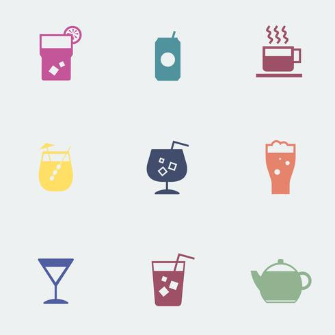 Förfriskande drinkar ikoner samling illustration