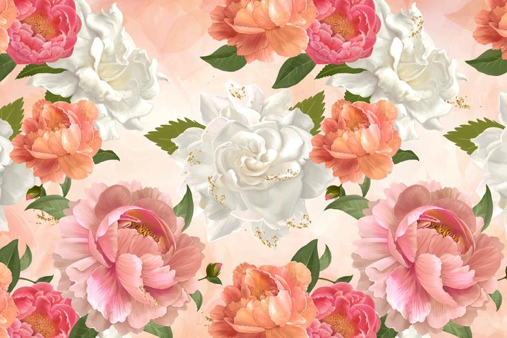 Peony patterned wallpaper vector
