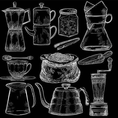 Ensemble illustré d'outils à café