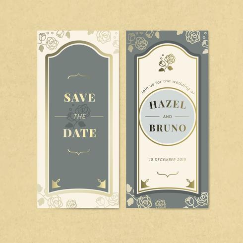 Vintage wedding invitation label vector set
