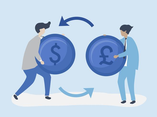 Personagens de dois empresários trocando ilustração de moeda