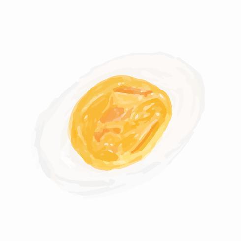 Handritad stekt ägg akvarell stil