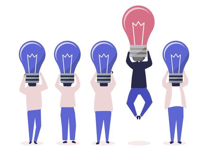 Person med en glödlampa som står ut illustrationen