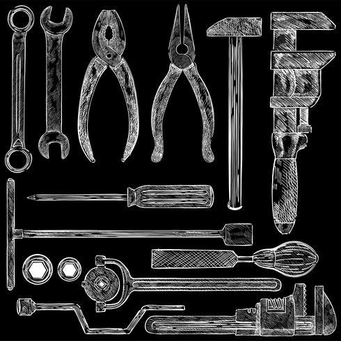 Illustration av en uppsättning mekaniska verktyg