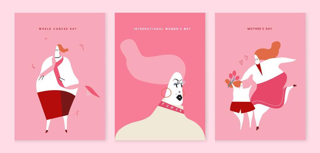 Illustration de concept de journées de soutien aux femmes vecteur