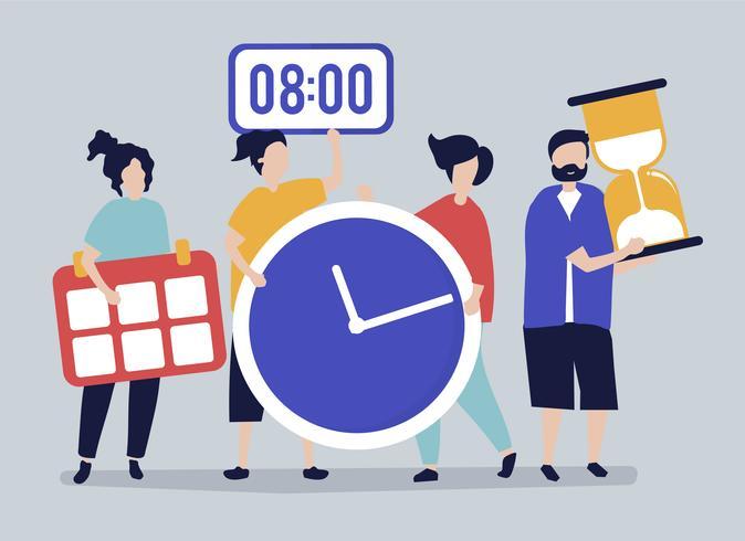 Caratteri della gente che tiene l'illustrazione di concetto della gestione di tempo