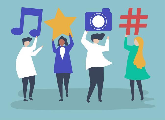 Personajes de personas con iconos de redes sociales ilustración vector