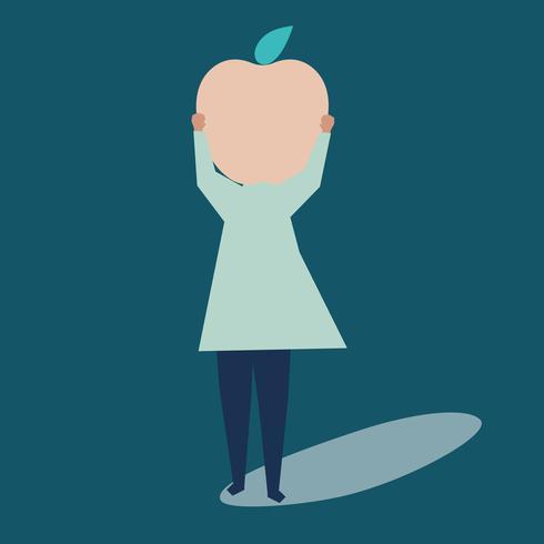 Personagem de uma mulher com uma ilustração de cabeça de maçã