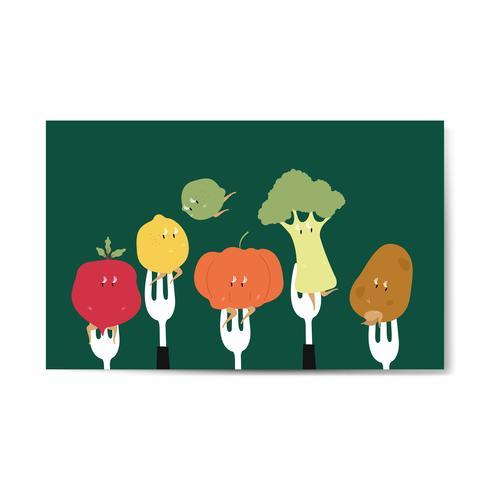 Verse biologische groentecartoons op vorken