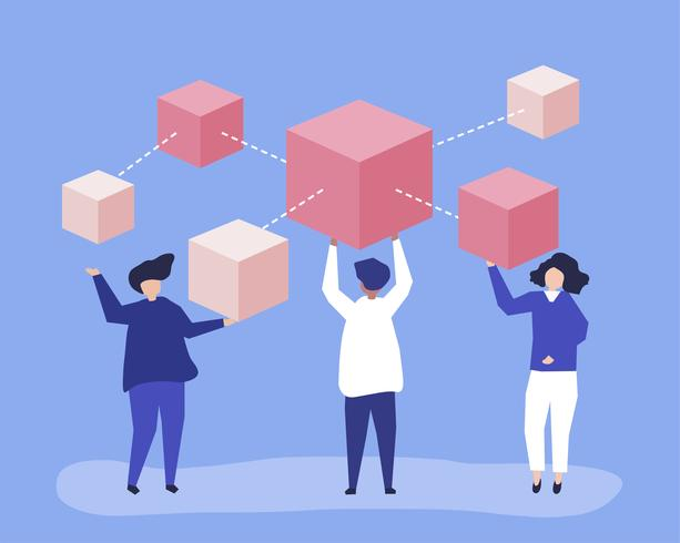 Characters of people holding a blockchain network illustration vector