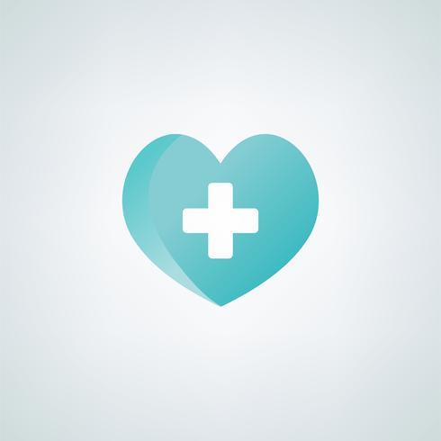Coração, com, um, cruz vermelha, símbolo, vetorial