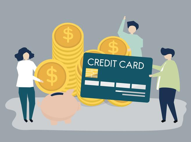Karakters van mensen en het conceptenillustratie van contant geldbesparingen