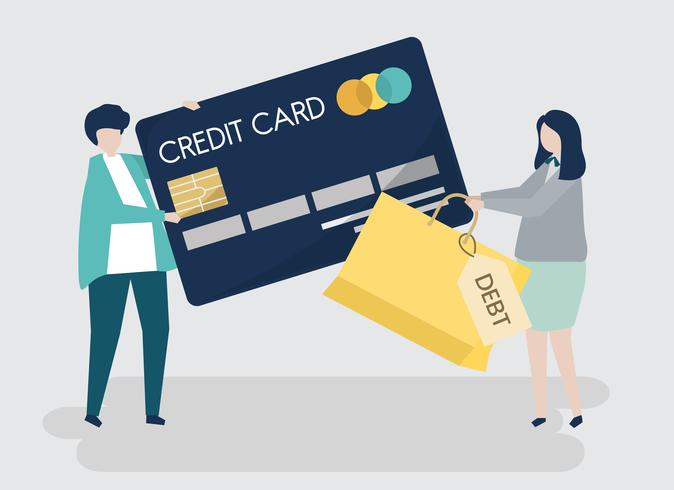 People characters and credit card debt concept illustration