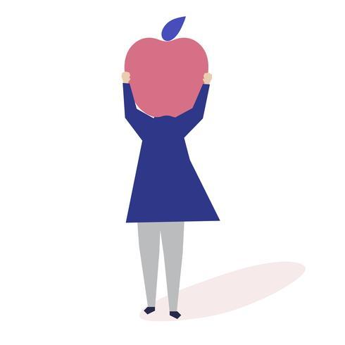 Caractère d'une femme avec une illustration de pomme