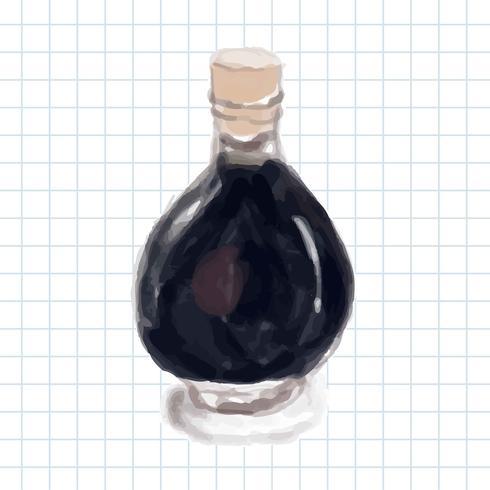 Hand drawn balsamic vinegar watercolor style