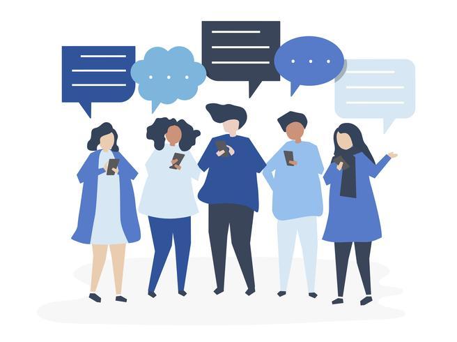 Caratteri della gente che chiacchiera tramite l'illustrazione degli smartphones