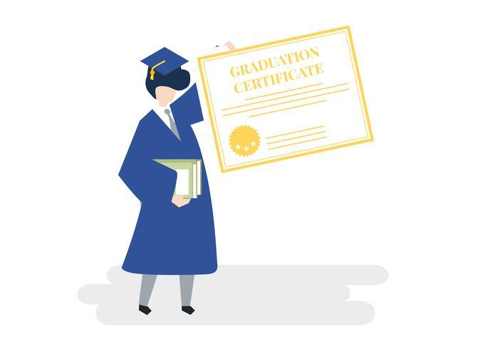 Karakter van een afgestudeerde met een afstuderen certificaat illustratie