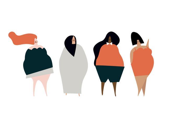 Glücklich plus Größenfrauenvektor