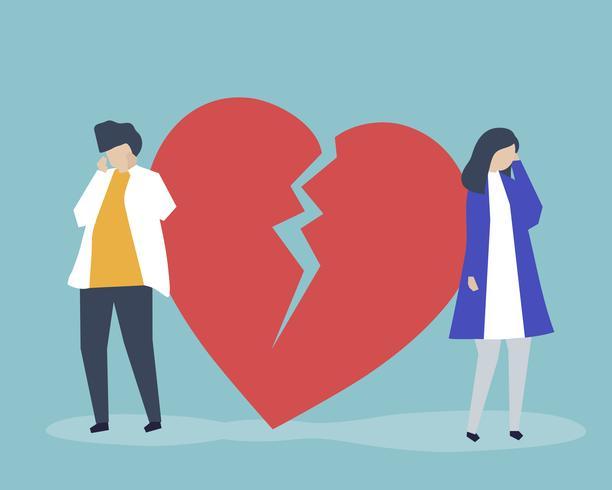 Illustrazione di una coppia con un'icona di rottura del cuore