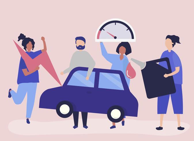 Mensen die de auto van benzine voorzien