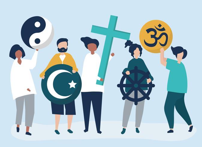 Pessoas, segurando, diverso, religiosas, símbolos, ilustração