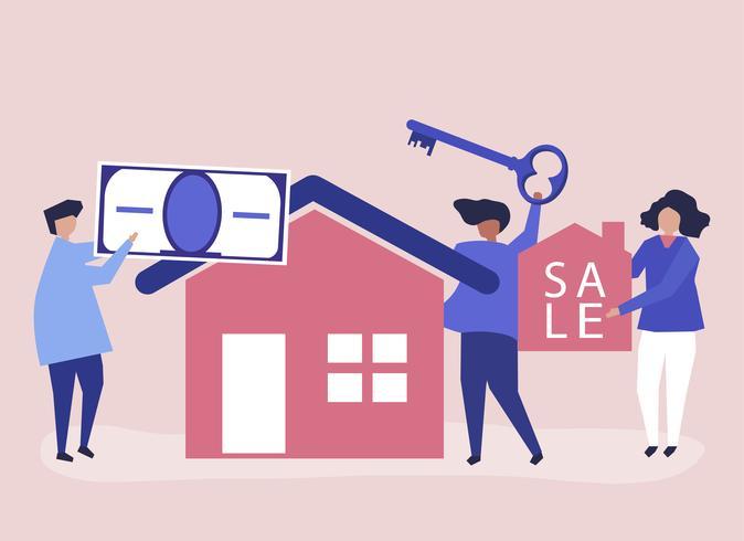 Illustrazione di carattere di persone che vendono casa