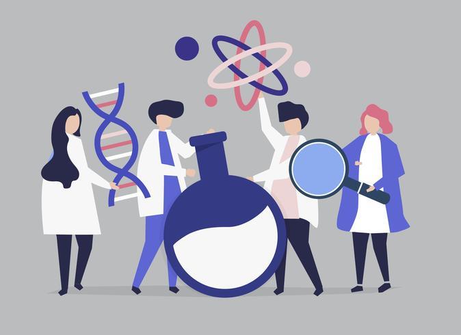 Karakters van wetenschappers die de illustratie van chemiepictogrammen houden