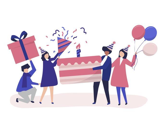 Ilustración de personaje de personas con iconos de fiesta de cumpleaños