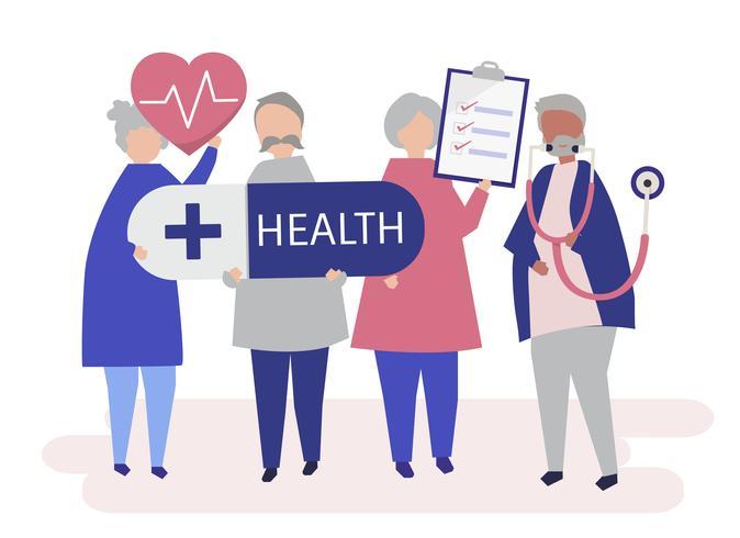 Ilustración de personaje de personas mayores con iconos de salud