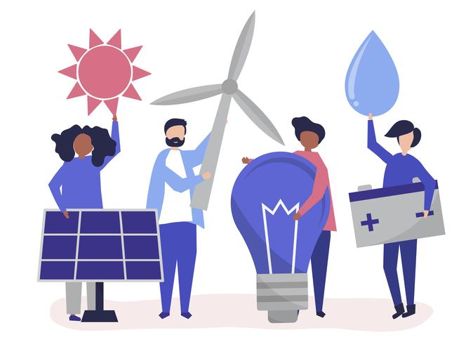 Characters of people holding green energy icons